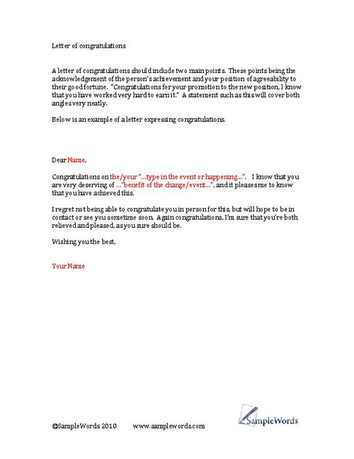 Congratulatory Letter On Promotion from www.samplewords.com