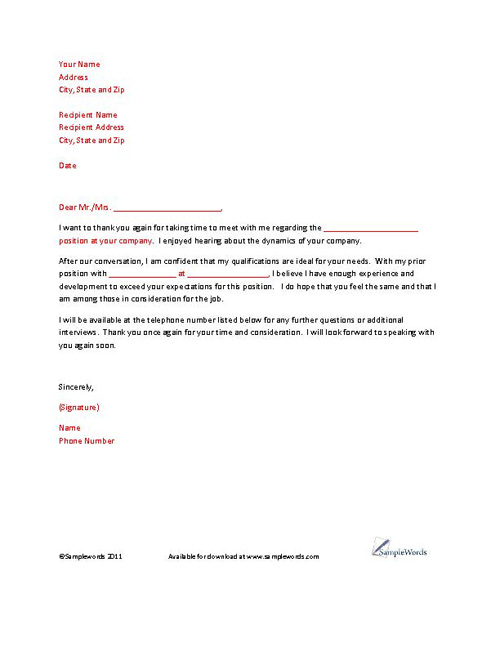 Sample Thank You Letter For Marketing Position
