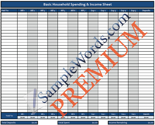 Household Spending Spreadsheet - Premium