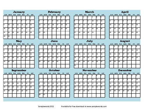 Blank Annual Calendar