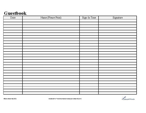 Basic Business Guestbook