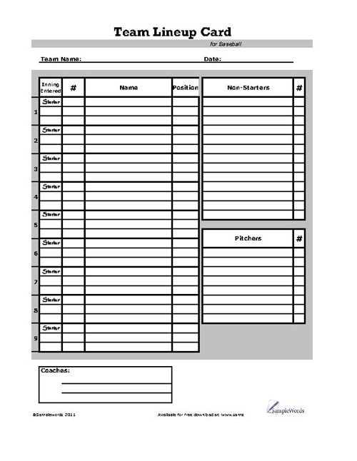 graphic relating to Printable Lineup Cards named Baseball Lineup Card