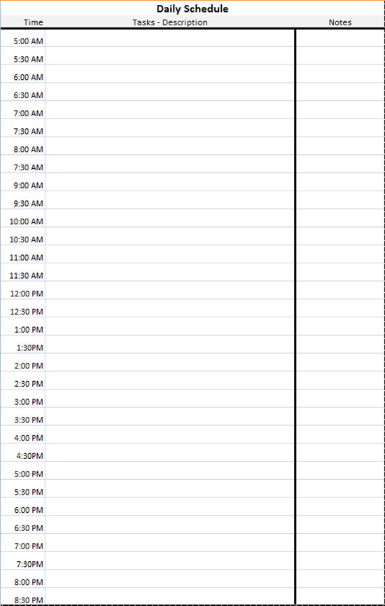 Daily Schedule Template Excel