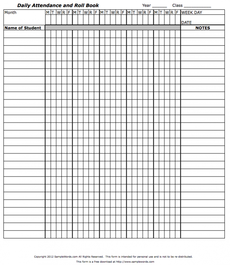 Roll Sheet Template from www.samplewords.com
