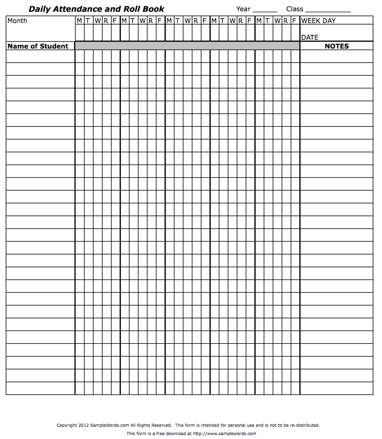attendance book template - Acur.lunamedia.co