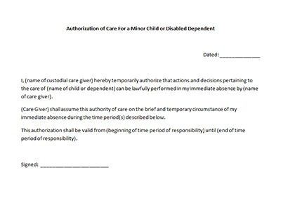Authorization of care form microsoft word document doc