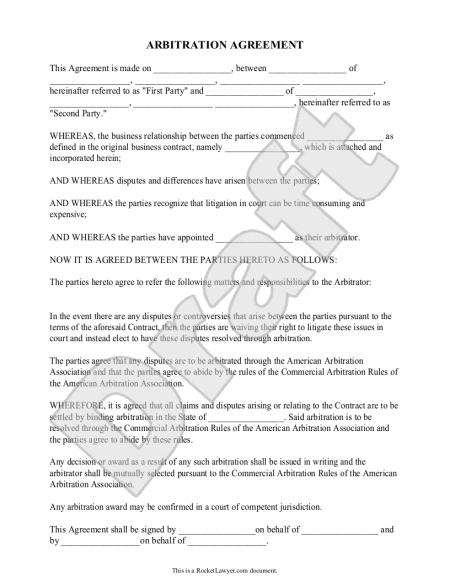 Arbitration Agreement Template