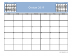 October 2015 Calendar with 3-Month View