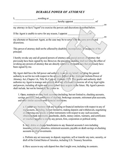 free printable power of attorney form