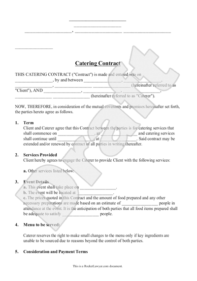 Catering Contract For Cooking Meal Preparation Business