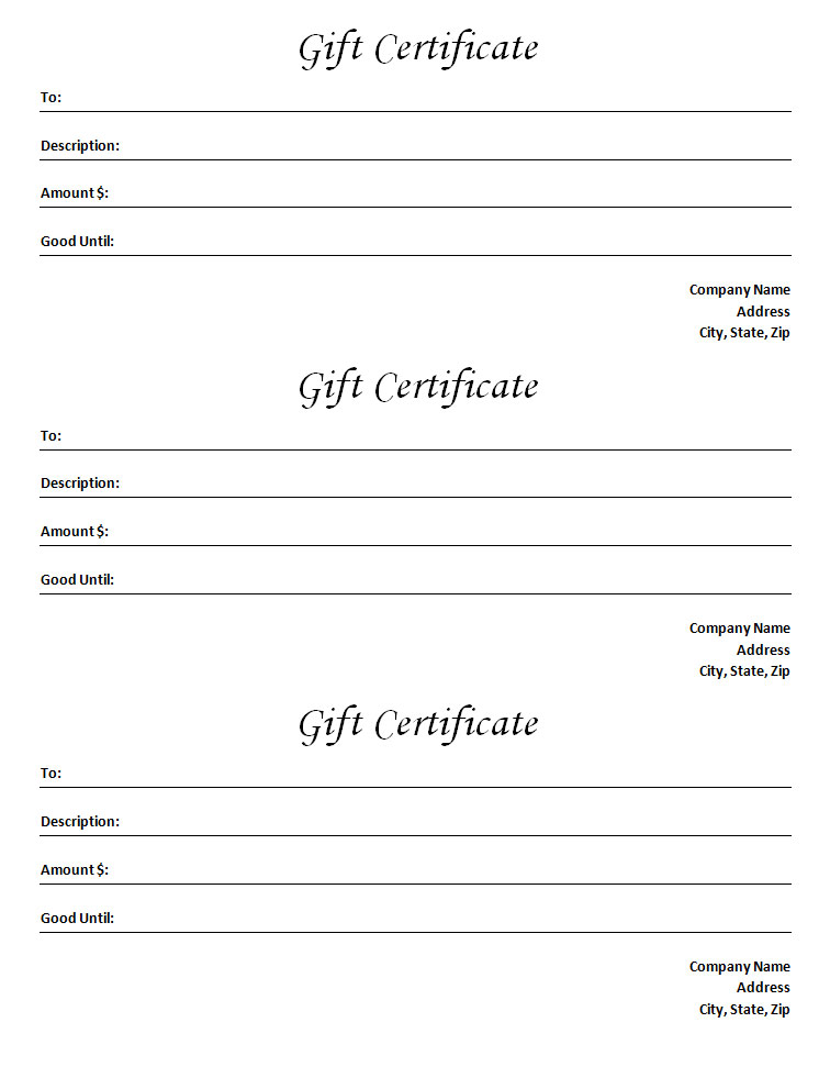 gift certificate template blank microsoft word document. Black Bedroom Furniture Sets. Home Design Ideas