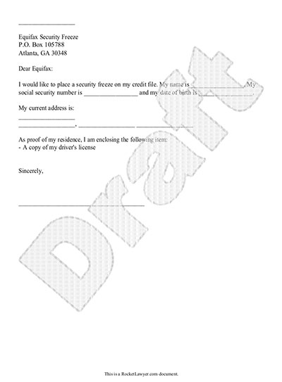 Credit Freeze Letter Template